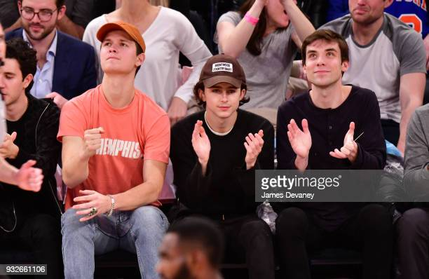 Ansel Elgort and Timothee Chalamet attend New York Knicks Vs Philadelphia 76ers game at Madison Square Garden on March 15 2018 in New York City