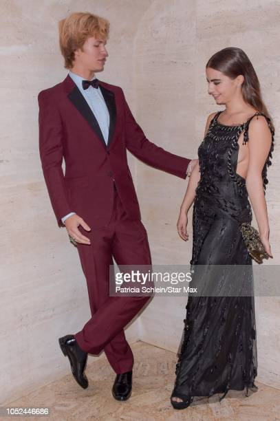 Ansel Elgort and Violetta Komyshan are seen on October 17 2018 in New York City