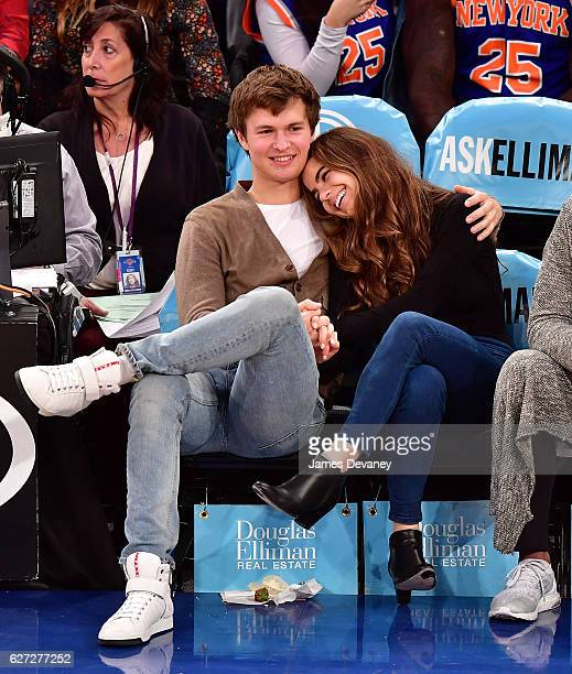 Ansel Elgort and Violetta Komyshan attend Minnesota Timberwolves vs New York Knicks game at Madison Square Garden on December 2 2016 in New York City