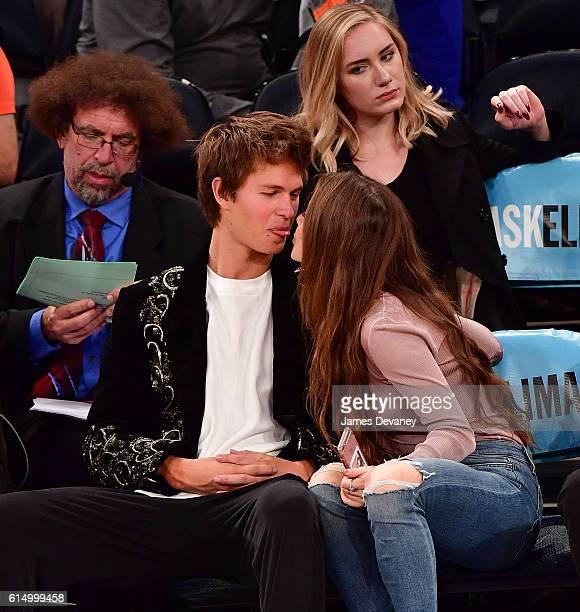 Ansel Elgort and Violetta Komyshan attend New York Knicks vs Boston Celtics preseason game at Madison Square Garden on October 15 2016 in New York...