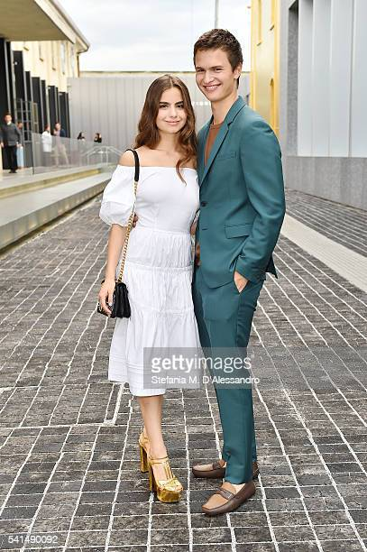 Ansel Elgort and Violetta Komyshan attend private dinner hosted by Miuccia Prada and Patrizio Bertelli during Milan Men's Fashion Week SS17 at...