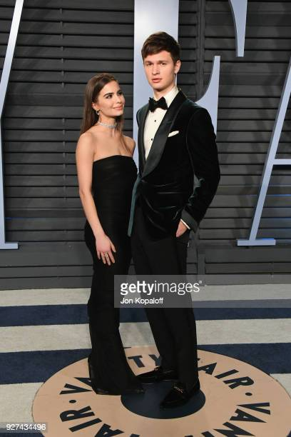 Ansel Elgort and Violetta Komyshan attend the 2018 Vanity Fair Oscar Party hosted by Radhika Jones at Wallis Annenberg Center for the Performing Arts...