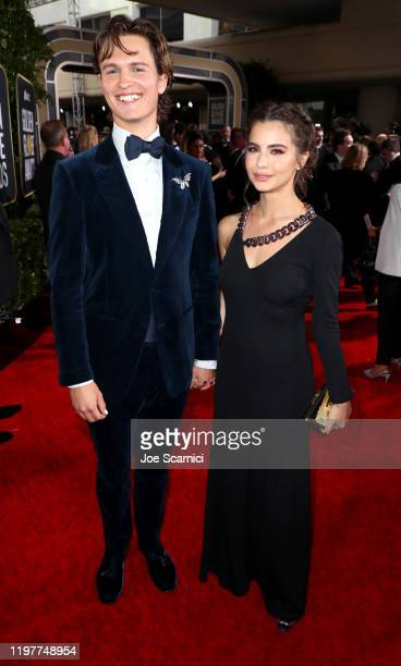 Ansel Elgort and Violetta Komyshan attend the 77th Annual Golden Globe Awards at The Beverly Hilton Hotel on January 05, 2020 in Beverly Hills,...