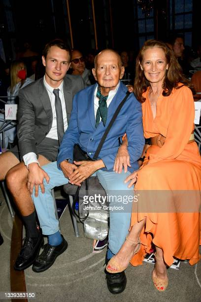 Ansel Elgort, Arthur Elgort, and Grethe Barrett Holby attend the The Daily Front Row 8th Annual Fashion Media Awards on September 09, 2021 in New...