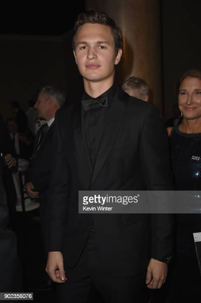 Ansel Elgort attends a cocktail reception during The 75th Annual Golden Globe Awards at The Beverly Hilton Hotel on January 7 2018 in Beverly Hills...