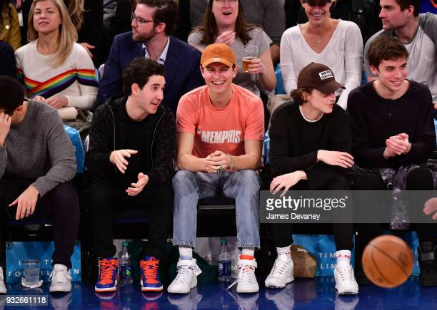 Ansel Elgort attends New York Knicks Vs Philadelphia 76ers game at Madison Square Garden on March 15 2018 in New York City