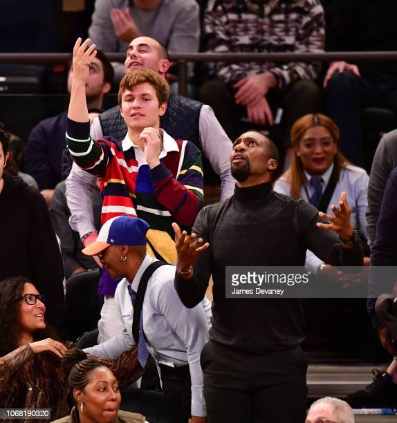 Ansel Elgort attends New York Knicks vs Washington Wizards game at Madison Square Garden on December 3 2018 in New York City