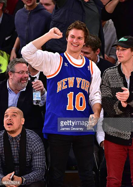 Ansel Elgort attends the Houston Rockets vs New York Knicks game at Madison Square Garden on January 8 2015 in New York City