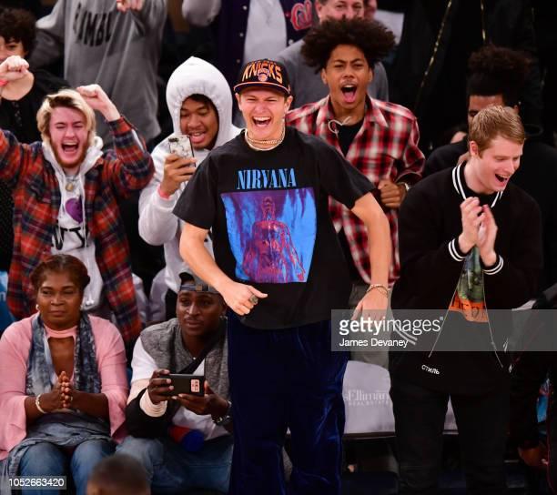 Ansel Elgort attends the New York Knicks vs Boston Celtics game at Madison Square Garden on October 20 2018 in New York City