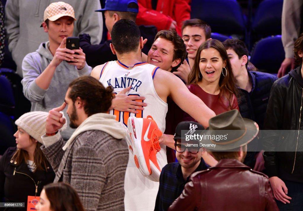 Ansel Elgort attends the New York Knicks Vs Boston Celtics game at Madison Square Garden on December 21, 2017 in New York City.