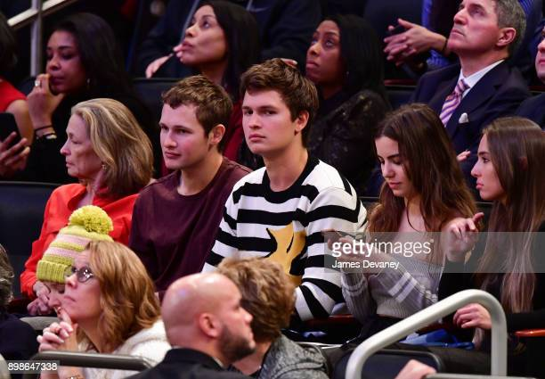 Ansel Elgort attends the New York Knicks Vs Philadelphia 76ers game at Madison Square Garden on December 25 2017 in New York City