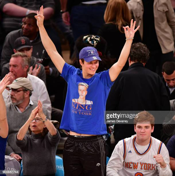 Ansel Elgort attends the New York Knicks Vs San Antonio Spurs game at Madison Square Garden on January 2 2018 in New York City