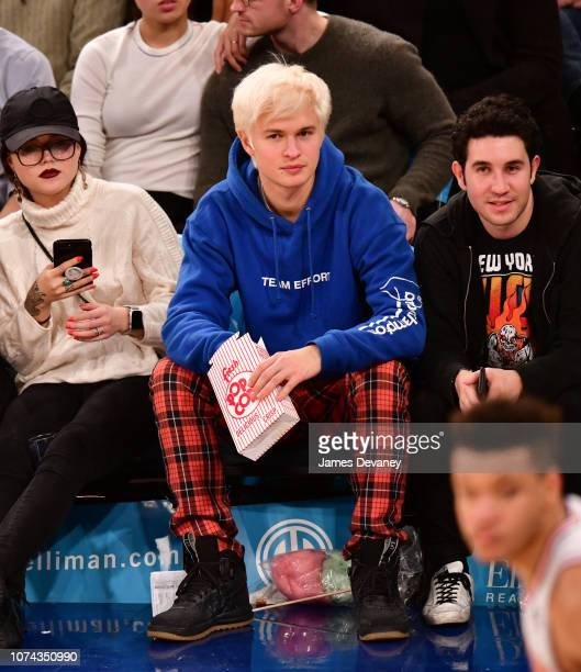 Ansel Elgort attends the Phoenix Suns v New York Knicks game at Madison Square Garden on December 17 2018 in New York City