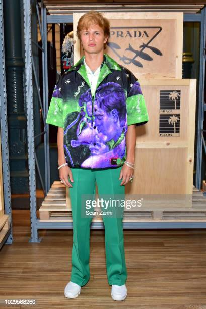 Ansel Elgort attends the Prada Linea Rossa event at Prada Broadway NY on Sept 8 2018