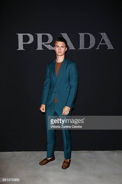 Ansel Elgort attends the Prada show during Milan Men's Fashion Week SS17 on June 19 2016 in Milan Italy