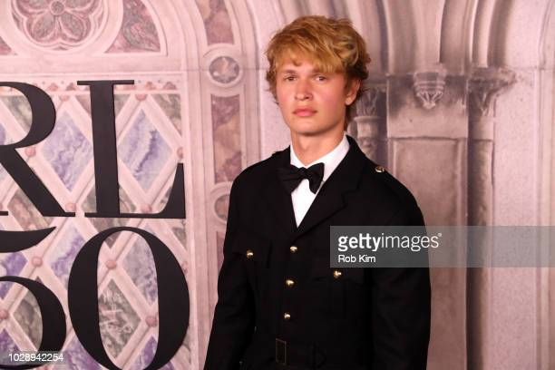 Ansel Elgort attends the Ralph Lauren fashion show during New York Fashion Week at Bethesda Terrace on September 7 2018 in New York City