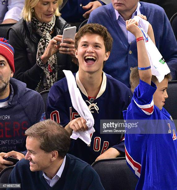 Ansel Elgort attends the Tampa Bay Lightning vs New York Rangers playoff game at Madison Square Garden on May 24, 2015 in New York City.