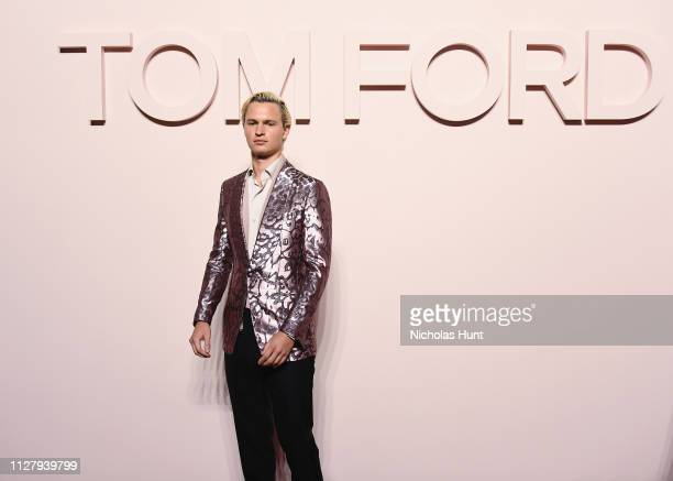 Ansel Elgort attends the Tom Ford FW 2019 Arrivals New York Fashion Week The Shows on February 06 2019 in New York City