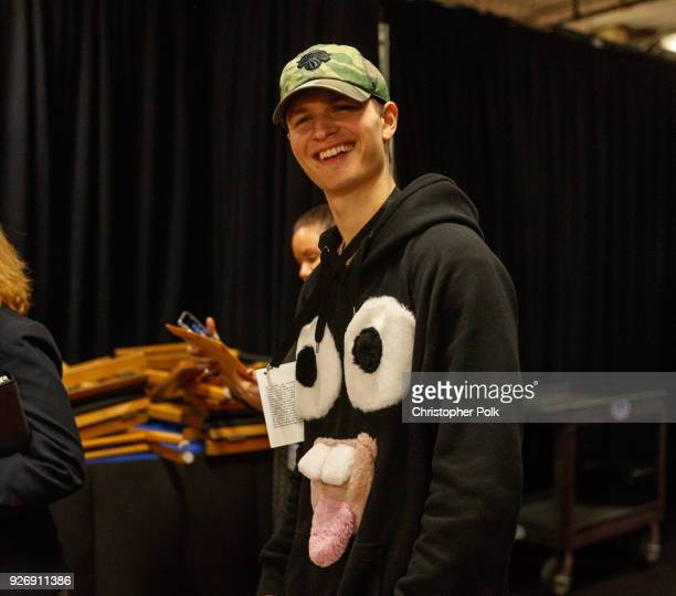 Ansel Elgort backstage during rehersals for the 90th Oscars at The Dolby Theatre on March 3, 2018 in Hollywood, California.