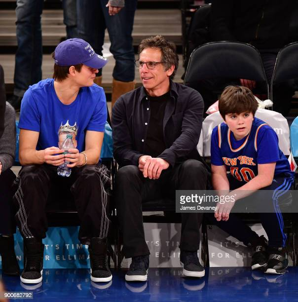 Ansel Elgort Ben Stiller and Quinlin Stiller attend the New York Knicks Vs San Antonio Spurs game at Madison Square Garden on January 2 2018 in New...