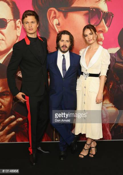Ansel Elgort Edgar Wright and Lily James arrive ahead of the Baby Driver Australian Premiere at Event Cinemas George Street on July 12 2017 in Sydney...