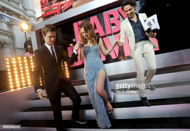 Ansel Elgort Lily James and Alex Zane at the European Premiere of Sony Pictures 'Baby Driver' on June 21 2017 in London England