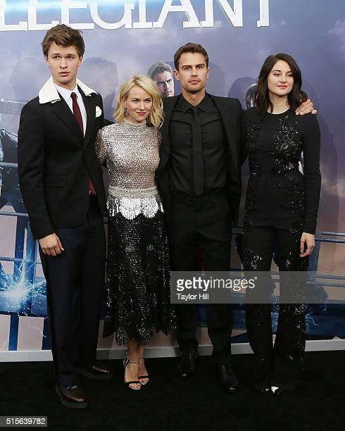 Ansel Elgort Naomi Watts Theo James and Shailene Woodley attend the 'Allegiant' New York premiere at AMC Loews Lincoln Square 13 theater on March 14...