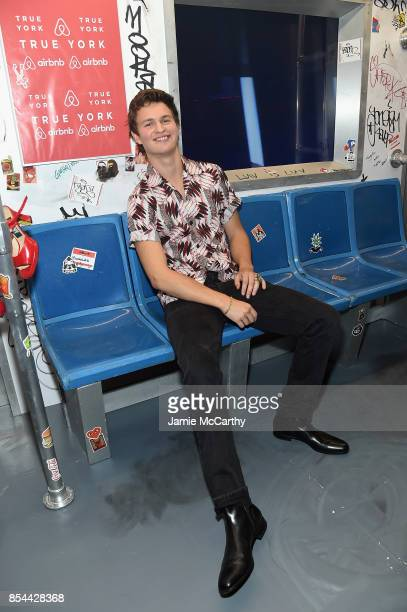 Ansel Elgort poses during Airbnb's New York City Experiences Launch Event on September 26 2017 in the Brooklyn borough of New York City City