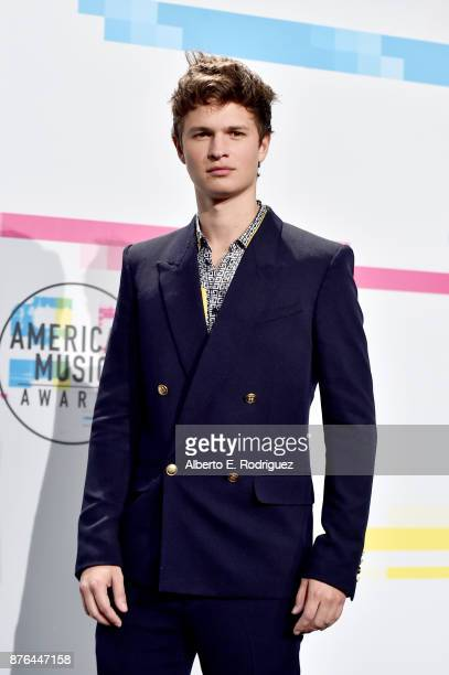 Ansel Elgort poses in the press room during the 2017 American Music Awards at Microsoft Theater on November 19 2017 in Los Angeles California