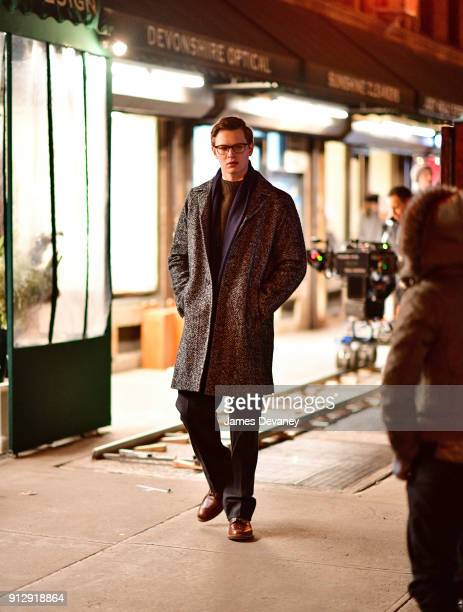 Ansel Elgort seen on location for The Goldfinch in Greenwich Village on January 31 2018 in New York City
