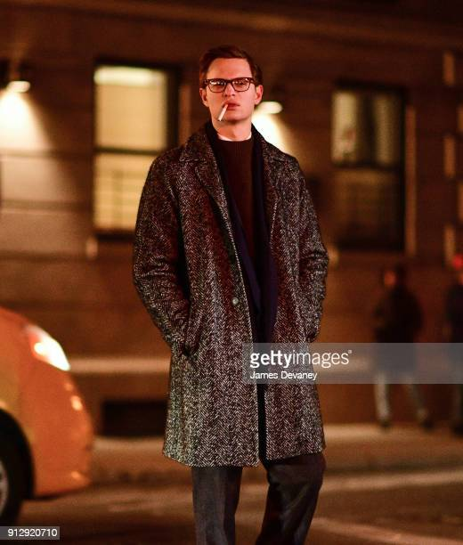 Ansel Elgort seen on location for 'The Goldfinch' in Greenwich Village on January 31 2018 in New York City