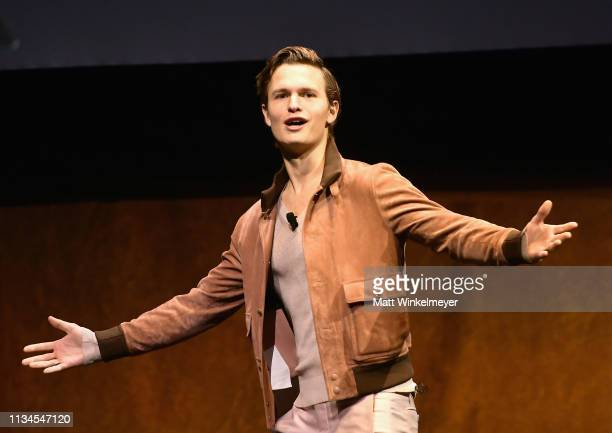 "Ansel Elgort speaks onstage at CinemaCon 2019 Warner Bros Pictures Invites You to ""The Big Picture"" an Exclusive Presentation of its Upcoming Slate..."