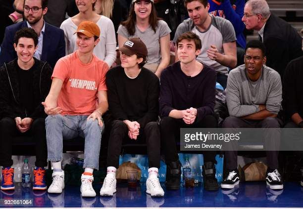 Ansel Elgort Timothee Chalamet guest and Chris Rock attend New York Knicks Vs Philadelphia 76ers game at Madison Square Garden on March 15 2018 in...