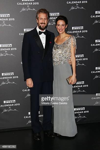 Anselmo Guerrieri Gonzaga and Ilaria Tronchetti attend the 2015 Pirelli Calendar Red Carpet on November 18 2014 in Milan Italy