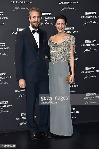 Anselmo Guerrieri Gonzaga and Ilaria Tronchetti Provera attend the 2015 Pirelli Calendar Red Carpet on November 18 2014 in Milan Italy