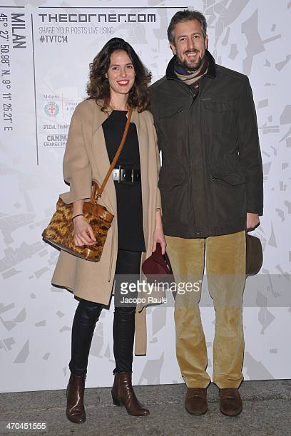 Anselmo Guerrieri Gonzaga and Ilaria Tronchetti Provera attend The Vogue Talents Cornercom during Milan Fashion Week Womenswear Autumn/Winter 2014 on...