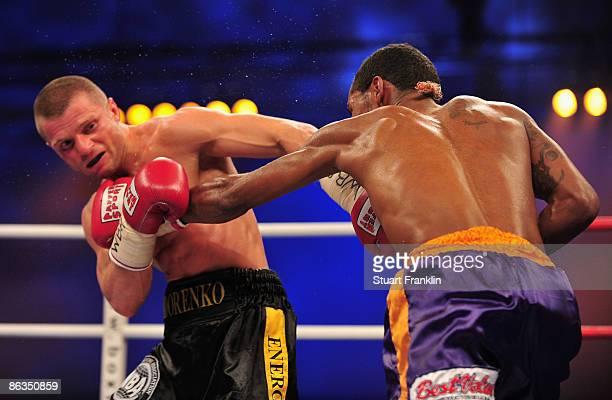 Anselmo Moreno of Panama exchanges punches with Wladimir Sidorenko of Ukraine during the WBA World Championship bantamweight fight a the Universum...