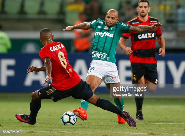 Anselmo of Sport Recife and Felipe Melo of Palmeiras in action during the match between Palmeiras and Sport Recife for the Brasileirao Series A 2017...