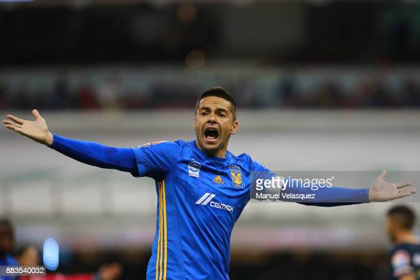 Anselmo Vendrechovski Juninho of Tigres shouts during the semifinal first leg match between America and Tigres UANL as part of the Torneo Apertura...