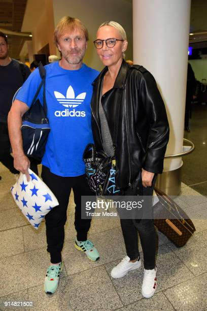 Ansgar Brinkmann and Natascha Ochsenknecht return from 'I'm a Celebrity Get Me Out Of Here' in Australia at Frankfurt International Airport on...