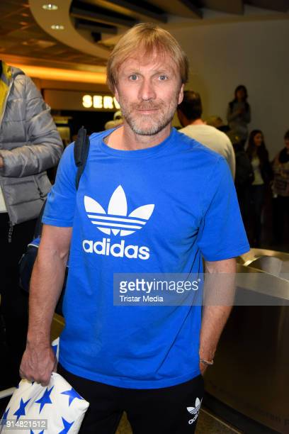 Ansgar Brinkmann returns from 'I'm a Celebrity Get Me Out Of Here' in Australia at Frankfurt International Airport on February 6 2018 in Frankfurt...
