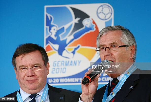 H ansHermann Schwick president of Arminia Bielefeld and Eberhard David mayor of the city of Bielefeld look on during the FIFA Women's U20 World Cup...