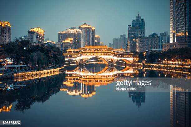 Anshun bridge in Chengdu at night  ( Sichuan , China )