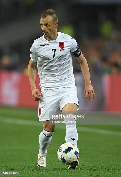 Ansi Agolli of Albania in action during the UEFA Euro 2016 Group A match between France and Albania at Stade Velodrome on June 15 2016 in Marseille...