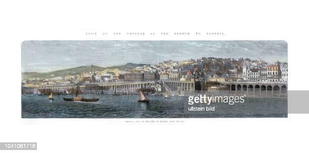 Ansicht Algiers von der Seeseite Zeichnung anlässlich des besuches des französischen Kaisers in Algier im Jahre 1865 Paris 1865