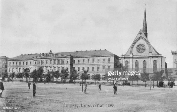 Ansicht von Augusteum und PaulinerUniversitätsKirche vom Augustusplatz gesehen Postkarte aus Serie 'Leipzig'
