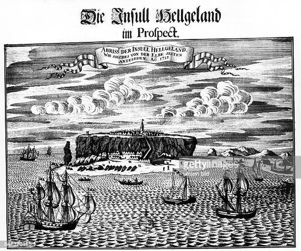 Ansicht von Helgoland aus dem Jahr 1713 zeitgenöss Stich