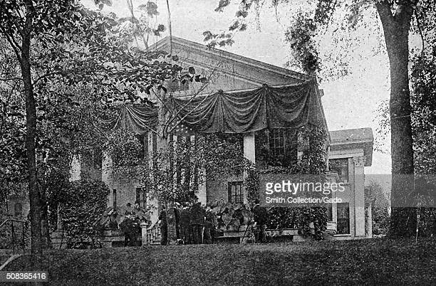 Ansley Wilcox residence decorated with banners and the American flag where President Theodore Roosevelt took his oath of office Buffalo New York...