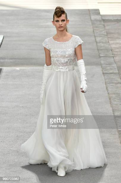 Ansolet Rossouw walks the runway during the Chanel Haute Couture Fall Winter 2018/2019 show as part of Paris Fashion Week on July 3 2018 in Paris...