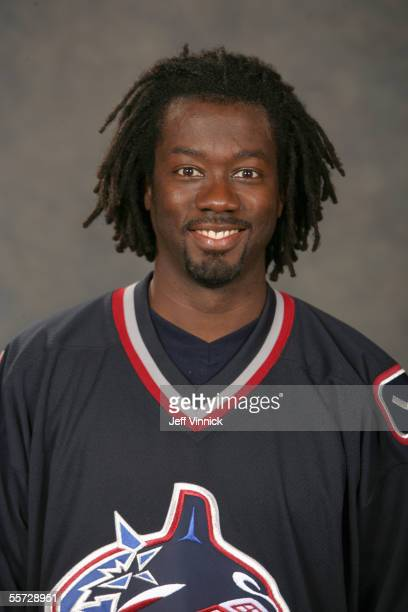Anson Carter of the Vancouver Canucks poses for a portrait at GM Place on September 102005 in VancouverCanada